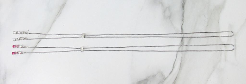 6mm | Three Setting Drop Adjustable Slider Necklace | One Piece
