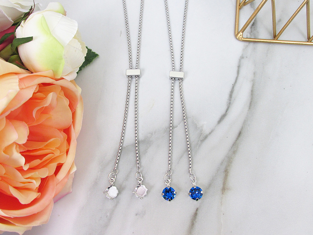8.5mm | Single Setting Adjustable Slider Necklace | One Piece