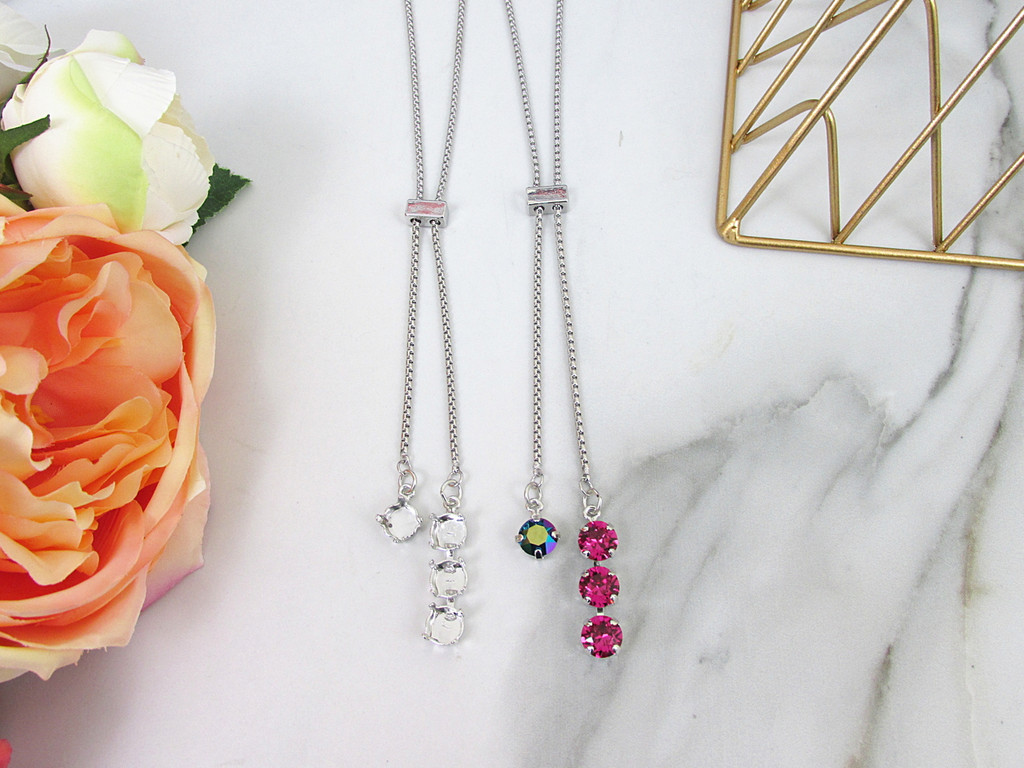 8.5mm | Single Setting & Three Setting Drop Adjustable Slider Necklace | One Piece