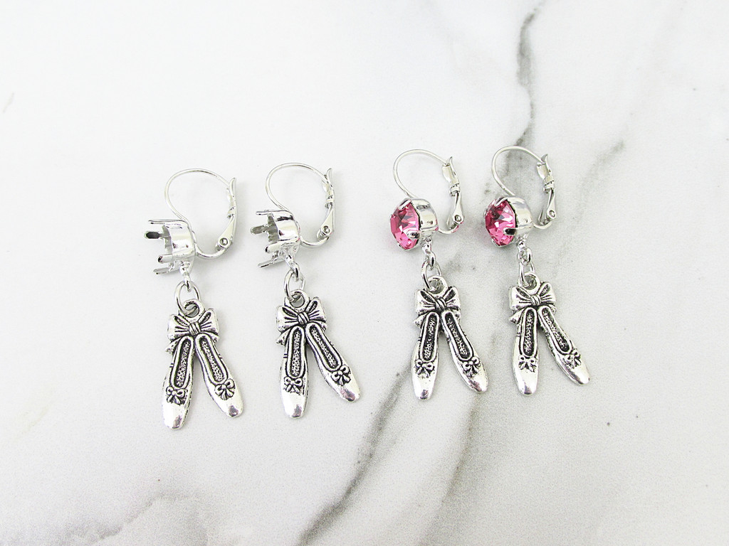 8.5mm | One Setting Drop & Ballet Slippers Charm Earring | One Pair