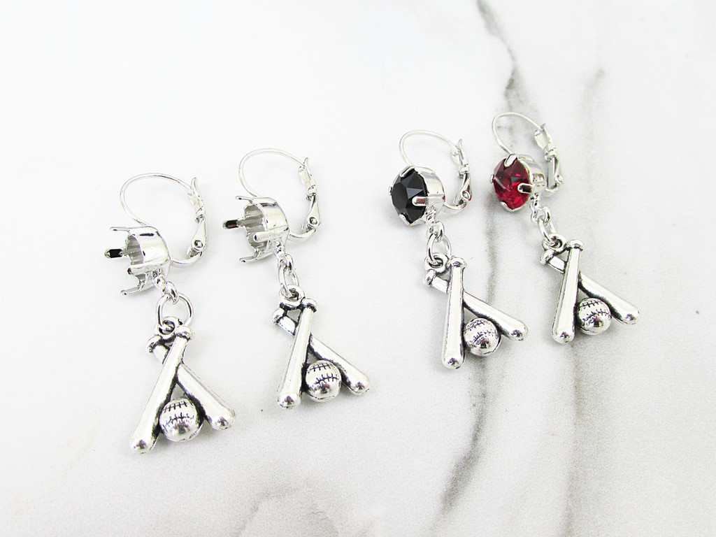 8.5mm | One Setting Drop & Baseball Charm Earring | One Pair