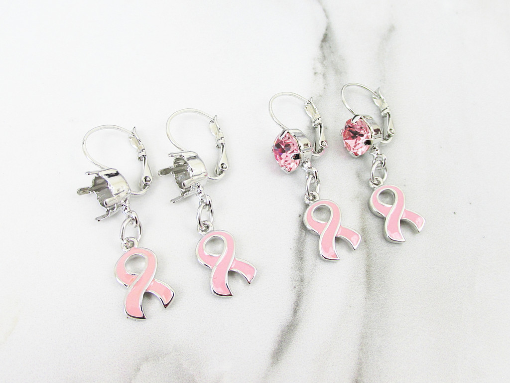 8.5mm | One Setting Drop & Breast Cancer Awareness Ribbon Charm Earring | One Pair