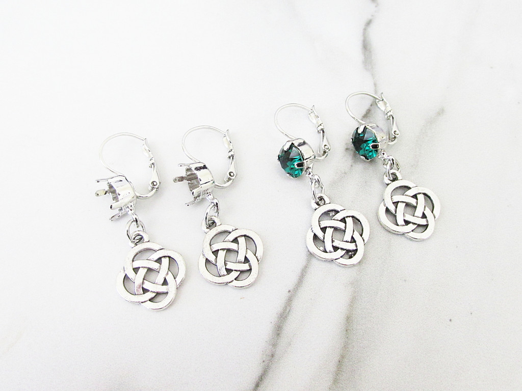 8.5mm | One Setting Drop & Celtic Knot Charm Earring | One Pair
