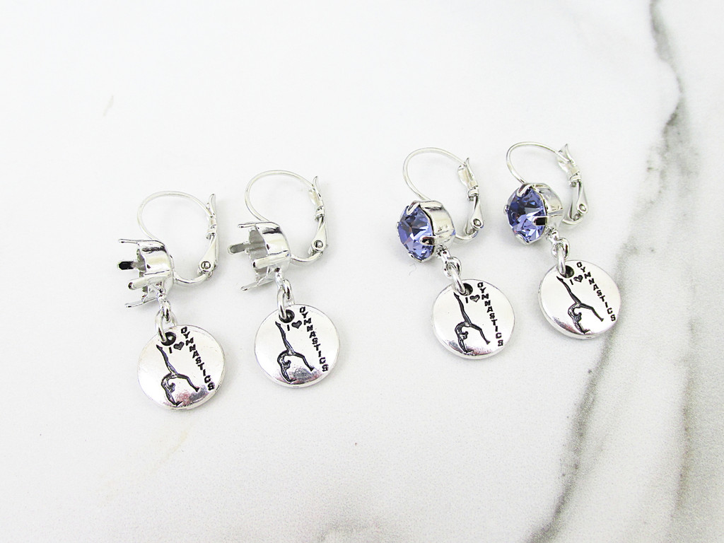 8.5mm | One Setting Drop & Gymnastics Charm Earring | One Pair