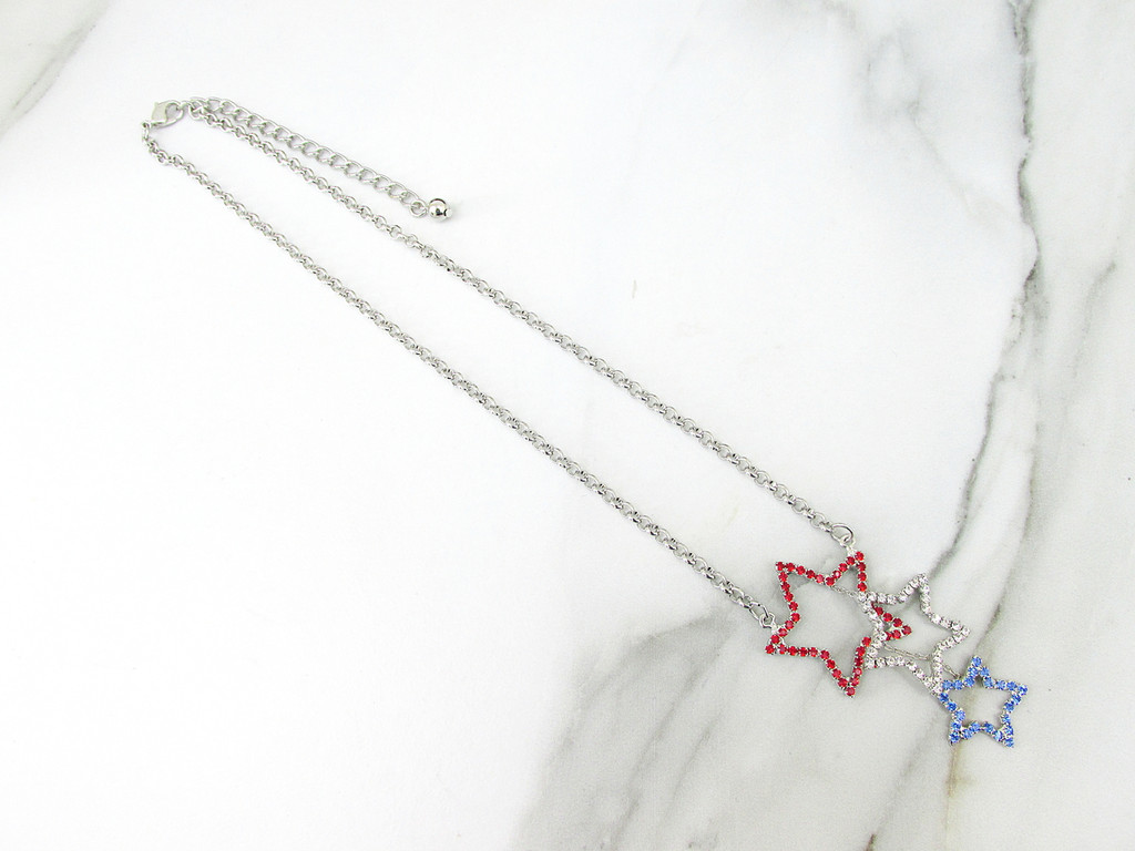 Patriotic Triple Star Crystal Rhinestone Necklace   One Piece
