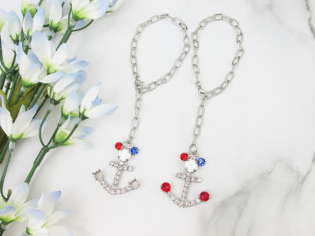 6mm | Patriotic Girl Mouse Anchor Crystal Rhinestone Bracelet | One Piece