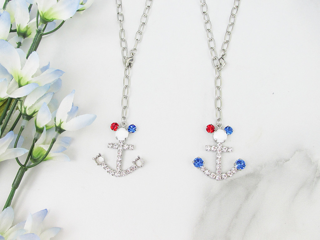 6mm | Patriotic Boy Mouse Anchor Crystal Rhinestone Necklace | One Piece