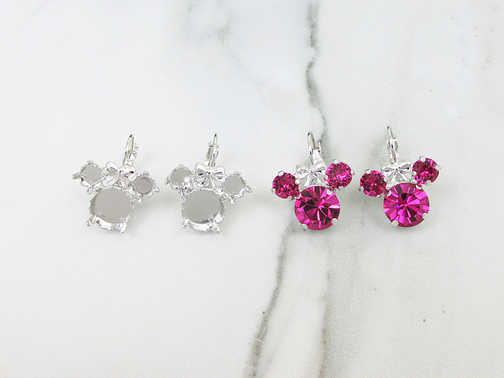6mm & 11mm | Girl Mouse Drop Earrings | One Pair