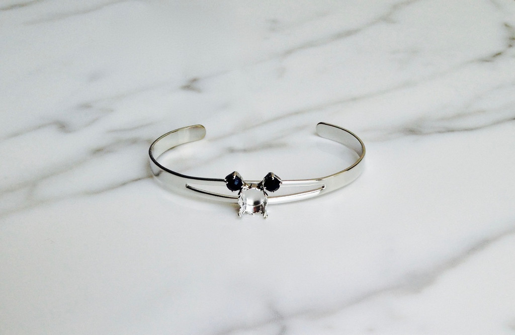 Small Mouse Bracelet | Delicate Split Band Adjustable Cuff