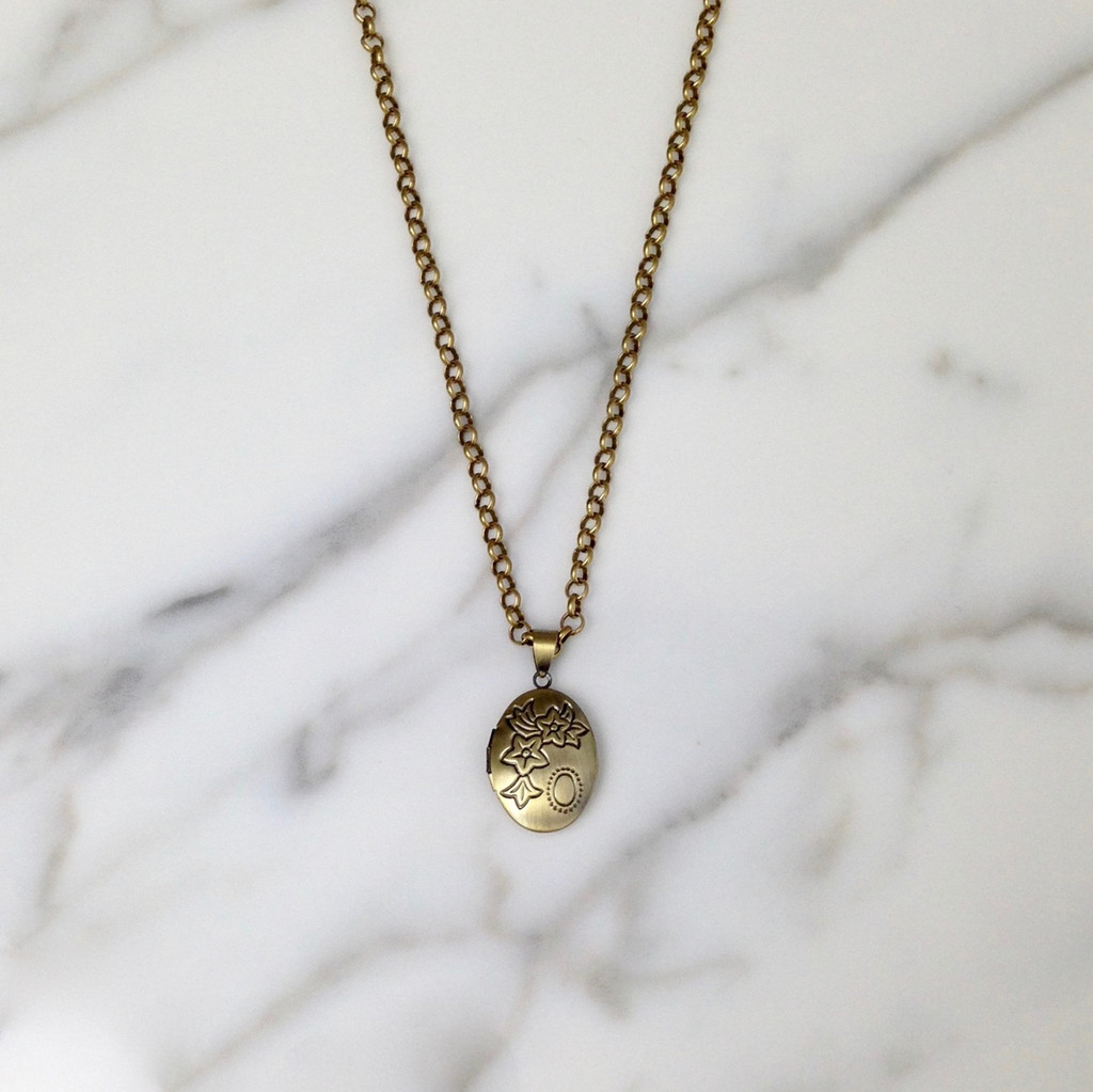 Brass Ox Locket on Small Rolo Chain