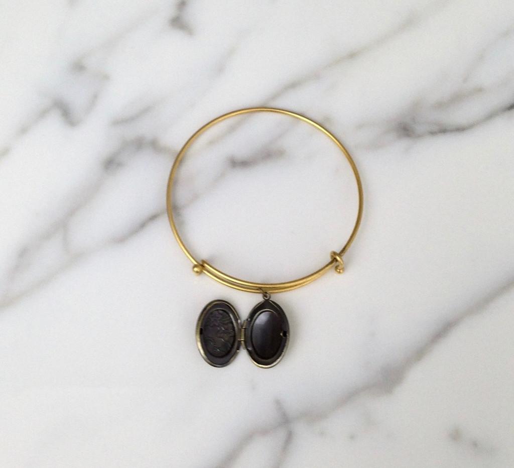 Brass Ox Oval Locket Bracelet with locket open