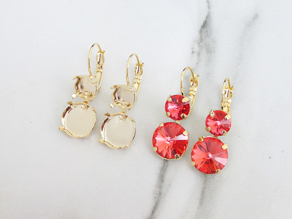 8.5mm & 12mm Round | Two Setting Drop Earrings | Three Pairs