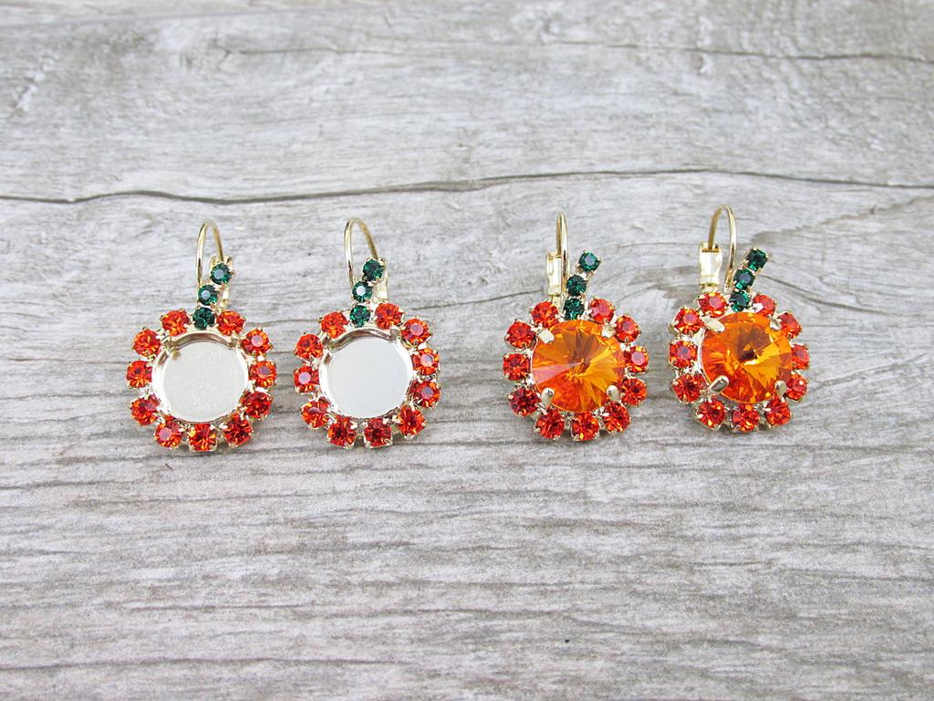 11mm | Pumpkin Crystal Rhinestone Earrings | One Pair