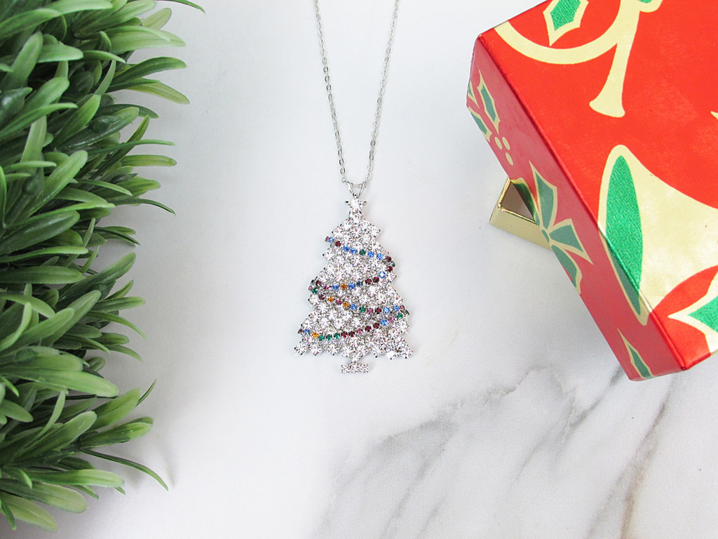 White Christmas Tree With Lights Crystal Rhinestone Necklace | One Piece