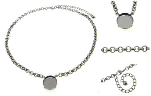 Empty 18mm Rivoli Round Necklaces 3 Pieces - Smooth Or Textured Rolo Chain