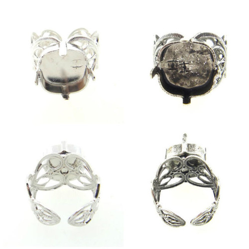 12mm Square | Filigree Adjustable Ring | Three Pieces