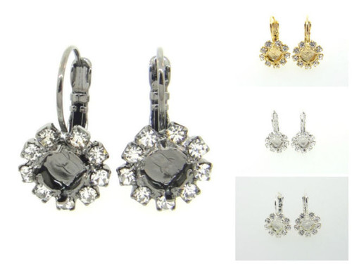 6mm Crystal Halo Drop Earring