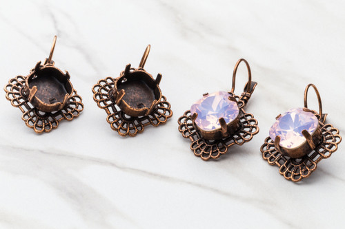 12mm Square | Square Filigree Drop Earring | One Pair