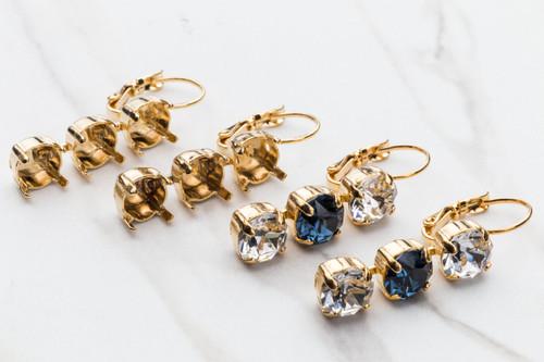 8.5mm Three Setting Drop Earrings
