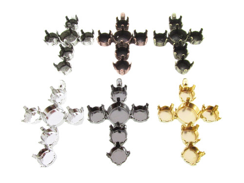 Empty Cross Pendant Style 1 - 8.5mm (39ss) & 11mm 3 Pieces