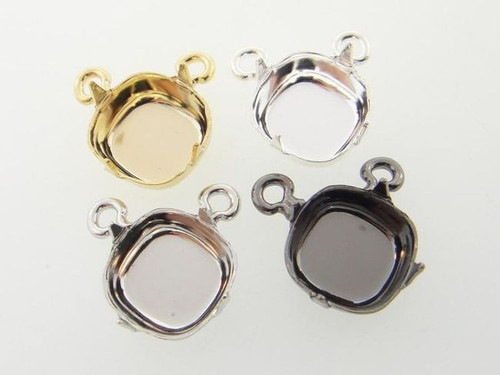 10mm Square Cushion Cut Single Pendant Empty Center Piece Add Your Own Chain 3 Pieces