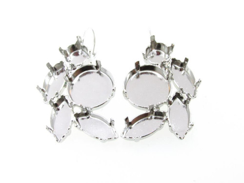 Rhodium Empty Floral Mixed Size Cluster Earring 8.5mm (39ss), 15x7mm Navette, 14mm Rivoli Round