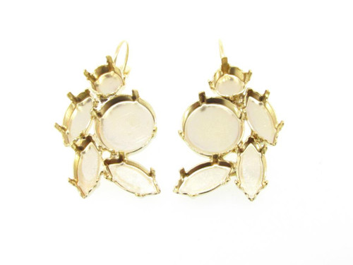 Gold Overlay Empty Floral Mixed Size Cluster Earring 8.5mm (39ss), 15x7mm Navette, 14mm Rivoli Round