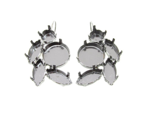 Hematite Empty Floral Mixed Size Cluster Earring 8.5mm (39ss), 15x7mm Navette, 14mm Rivoli Round