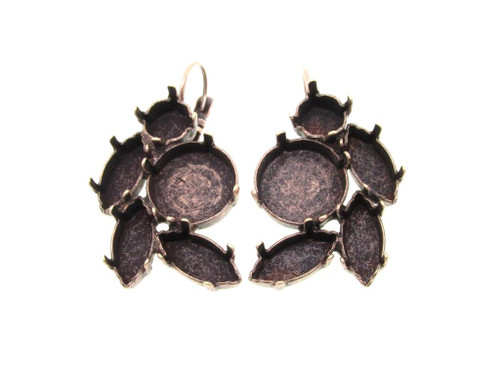 Copper Ox Empty Floral Mixed Size Cluster Earring 8.5mm (39ss), 15x7mm Navette, 14mm Rivoli Round