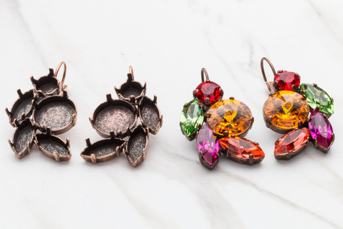 8.5mm, 14mm, 15mm x 7mm Navette Mixed Cluster Drop Earrings