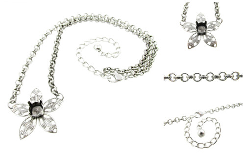 Flower Filigree Necklace with Empty 8.5mm (39ss) Center Setting 3 Pieces - Smooth Or Textured Rolo Chain