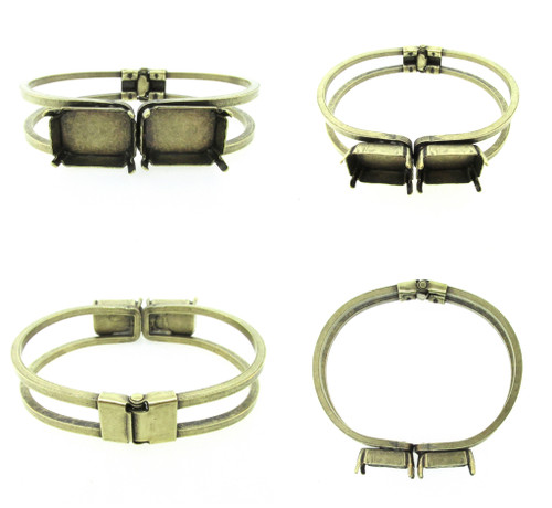 18mm x 13mm Octagon | Two Setting Hinge Bracelet | Three Pieces