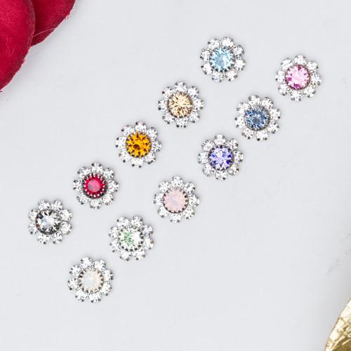 8.5mm | Austrian Crystal Daisy Elements | Six Pieces