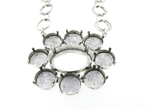 Empty Large Flower Statement Necklace In Silver Ox Style 4 - 12mm Rivoli Round & 25x18mm Oval