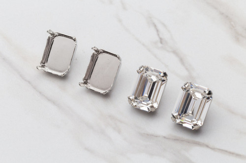 20mm x 15mm Octagon Stud Earrings