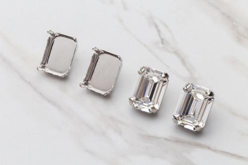 20mm x 15mm Octagon   Stud Earrings   One Pair