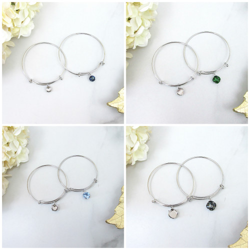 8.5mm, 10mm Square, 11mm, or 12mm Square | Expandable Bracelets With Empty Settings | 3 Pieces