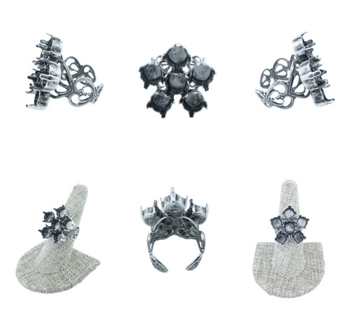 Filigree Adjustable Ring with Empty 8.5mm (39ss) Flower 3 Pieces - Rhodium or Silver Ox