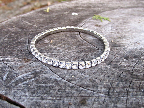 LVR 4mm Stretch Bracelet Made With Swarovski Crystals in Rhodium 1 Piece