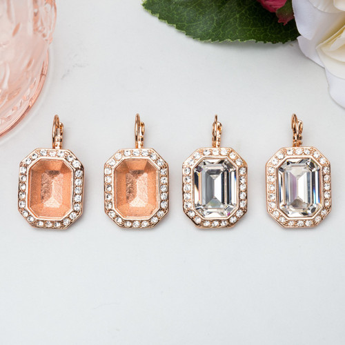 18mm x 13mm Octagon   Crystal Halo Casted Drop Earrings   One Pair