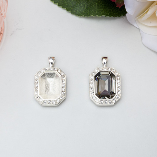 18mm x 13mm Octagon | Crystal Pave Casted Pendant | One Piece