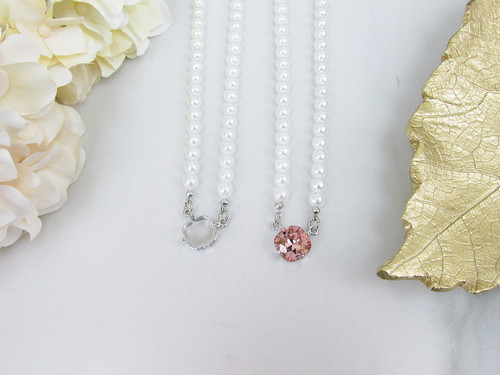 12mm Square | One Setting Necklace With Faux Pearl Strands | One Piece
