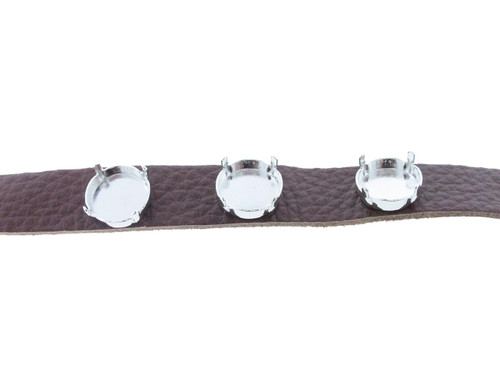 Shown with Rhodium Settings On The Textured Chestnut Leather Bracelet