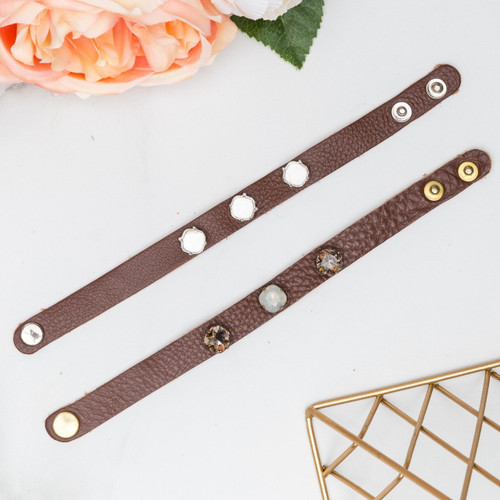 10mm Square | Three Setting Classic Leather Bracelet | One Piece