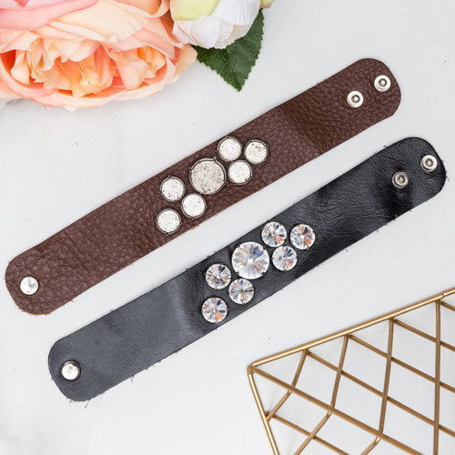 12mm Round & 18mm Round | Seven Setting Wide Leather Bracelet | One Piece