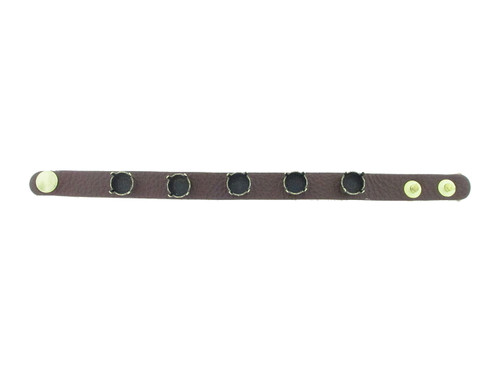 The Branded Leather Line - Classic Leather Bracelet With Five 11mm Riveted Empty Settings Made In The USA
