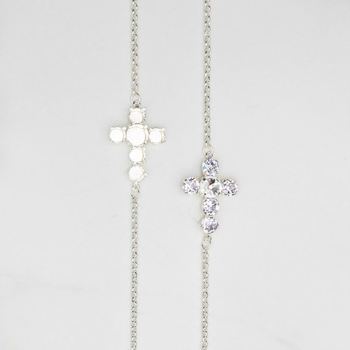 8.5mm & 11mm | Off Center Cross Necklace | Three Pieces