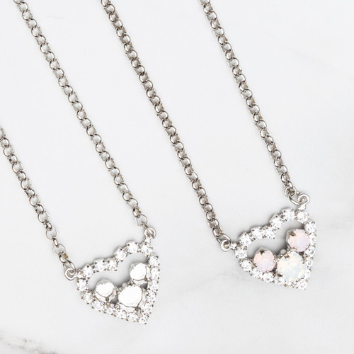 6mm & 8.5mm | Small Crystal Rhinestone Heart Necklace | One Piece