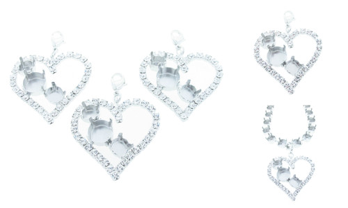 8.5mm (39ss) & 11mm Large Heart Empty Necklace Enhancer With Crystal Rhinestones Rhodium