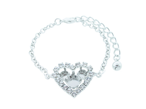 6mm & 8.5mmm | Small Crystal Rhinestone Heart Bracelet | One Piece